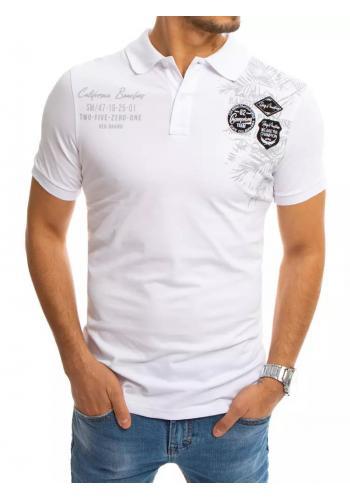 Bílá módní polokošile s potiskem pro pány