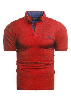 Pánská vzorovaná polokošile v červené barvě