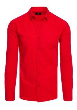 Červená hladká košile s dlouhým rukávem pro pány