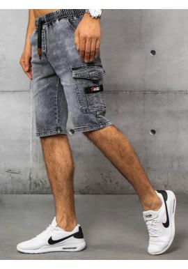 Černé riflové kraťasy s kapsou na stehně pro pány