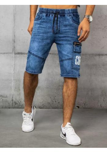Modré riflové kraťasy s kapsou na stehně pro pány