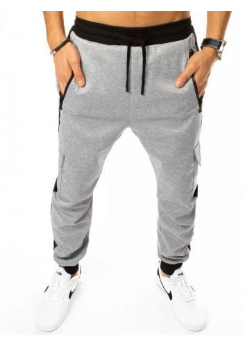 Pánské módní tepláky s cargo kapsami v šedé barvě