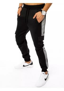 Černé módní tepláky s cargo kapsami pro pány