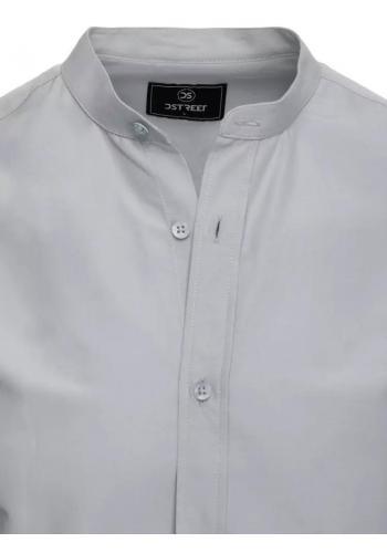 Módní pánská košile světle šedé barvy se stojáčkem
