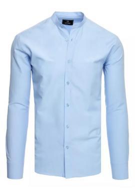 Pánská módní košile se stojáčkem v světle modré barvě