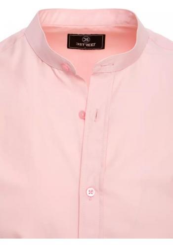 Módní pánská košile růžové barvy se stojáčkem