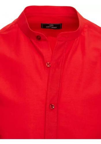 Pánská módní košile se stojáčkem v červené barvě