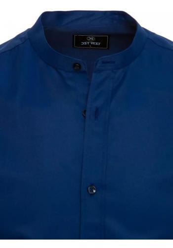Tmavě modrá módní košile se stojáčkem pro pány
