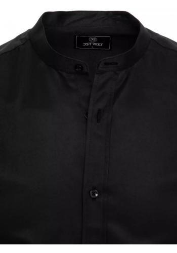 Módní pánské košile černé barvy se stojáčkem