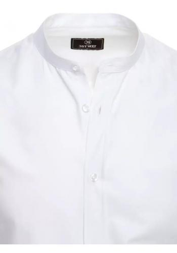 Pánská módní košile se stojáčkem v bílé barvě