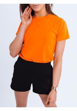 Klasické dámské tričko oranžové barvy s krátkým rukávem