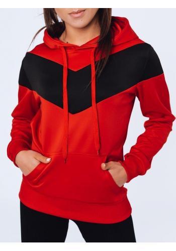 Červená tepláková mikina s kontrastní vložkou pro dámy