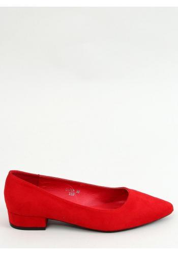 Dámské semišové lodičky na nízkém podpatku v červené barvě