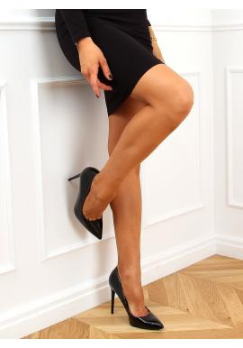 Lakované dámské lodičky černé barvy na štíhlém podpatku