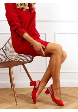 Semišové dámské lodičky červené barvy na nízkém podpatku