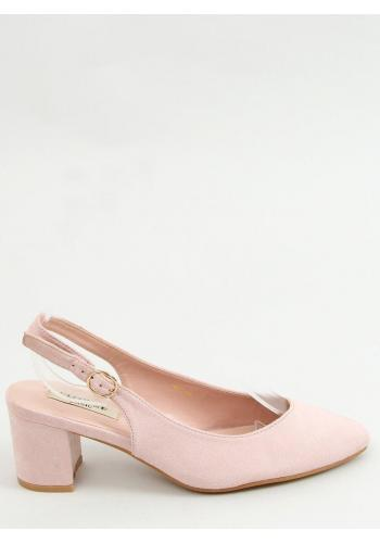 Růžové semišové lodičky na nízkém podpatku pro dámy