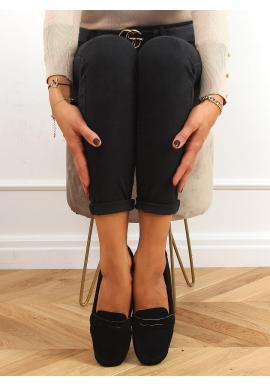 Černé semišové mokasíny s prošíváním pro dámy