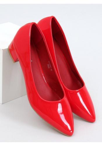 Červené lakované lodičky na nízkém podpatku pro dámy