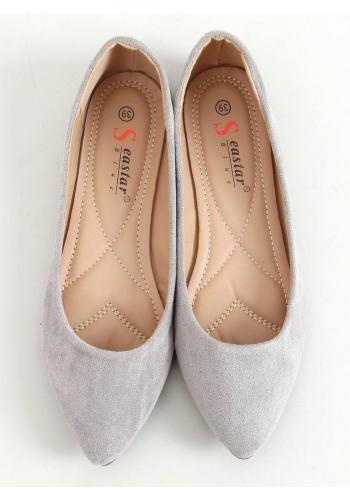 Semišové dámské balerínky šedé barvy