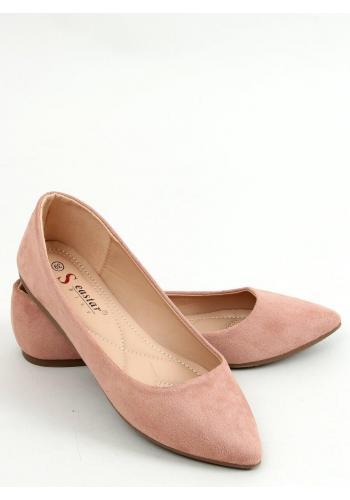 Dámské semišové balerínky v růžové barvě