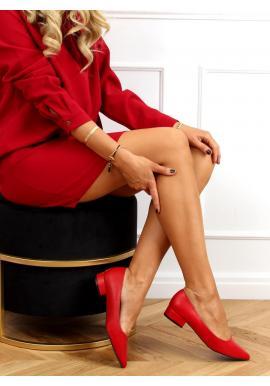 Červené klasické lodičky na nízkém podpatku pro dámy