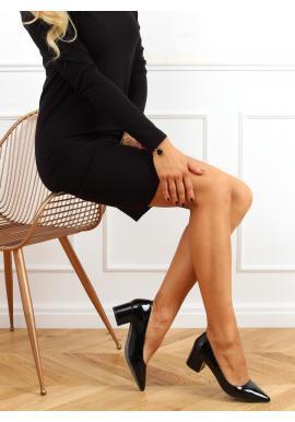 Černé lakované lodičky na širokém podpatku pro dámy