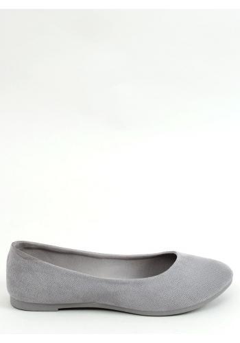 Klasické dámské balerínky šedé barvy s kulatou špičkou
