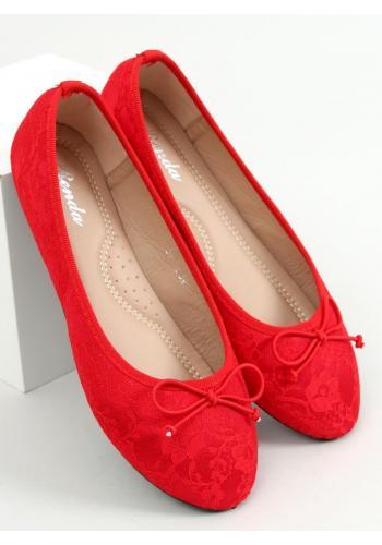 Červené krajkové balerínky s mašlí pro dámy