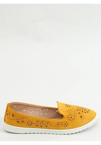 Dámské ažurové mokasíny s kamínky ve žluté barvě