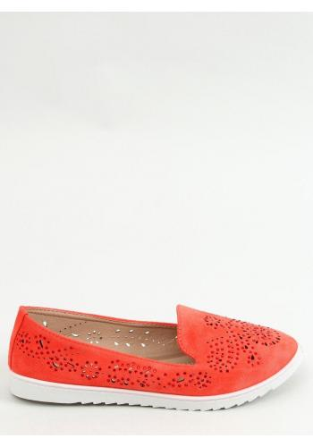 Ažurové dámské mokasíny korálové barvy s kamínky