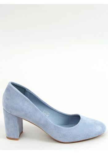 Semišové dámské lodičky světle modré barvy na stabilním podpatku