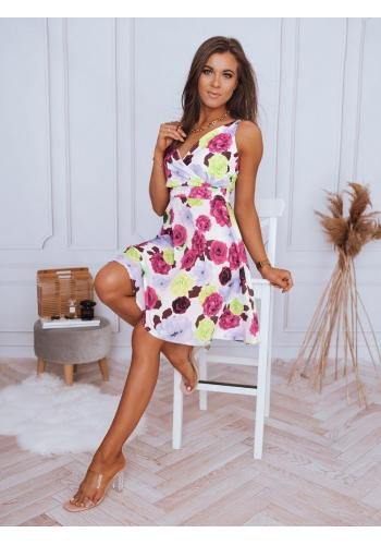 Květované dámské šaty bílé barvy na ramínka
