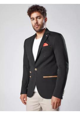 Černé neformální sako se záplatami pro pány