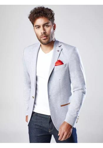 Neformální pánské sako světle šedé barvy se záplatami