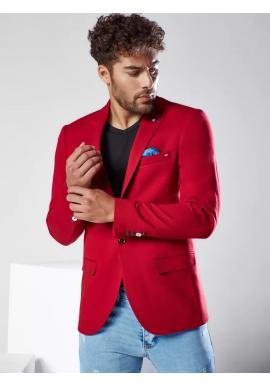 Bordové jednořadé sako v neformálním stylu pro pány