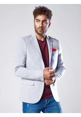 Jednořadé pánské sako šedé barvy v neformálním stylu