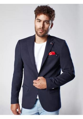Pánské jednořadé sako v neformálním stylu v tmavě modré barvě