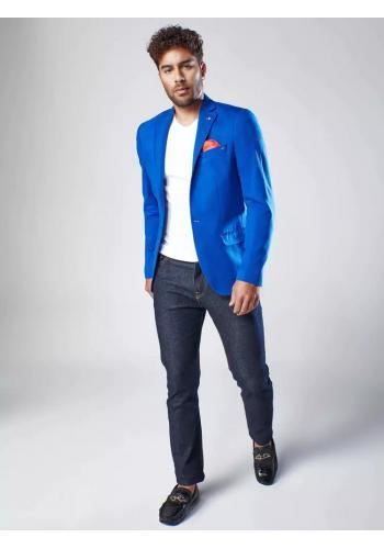 Modré jednořadé sako v neformálním stylu pro pány