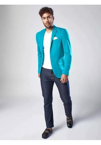 Jednořadé pánské sako tyrkysové barvy v neformálním stylu