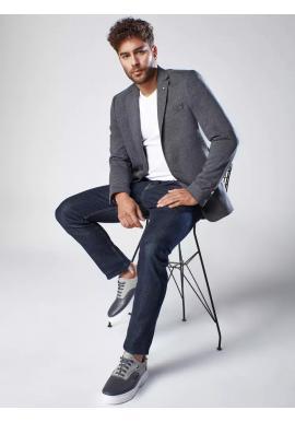 Pánské jednořadé sako v neformálním stylu v tmavě šedé barvě