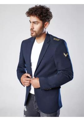 Módní pánské sako tmavě modré barvy s nášivkami