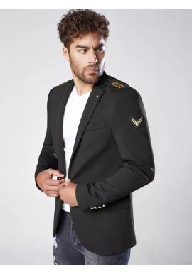Pánské módní sako s nášivkami v černé barvě