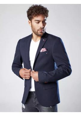 Tmavě modré neformální sako s ozdobnými knoflíky pro pány