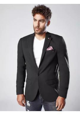 Neformální pánské sako černé barvy s ozdobnými knoflíky