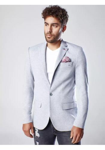 Pánské neformální sako s ozdobnými knoflíky v šedé barvě