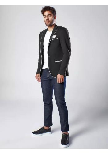 Pánské neformální sako se záplatami v černé barvě