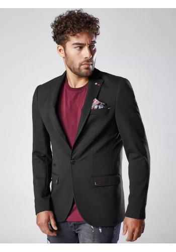 Černé neformální sako s ozdobnými knoflíky pro pány