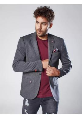 Pánské neformální sako s ozdobnými knoflíky v tmavě šedé barvě