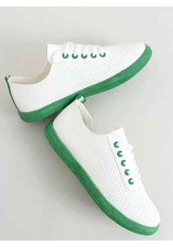 Dámské dírkované tenisky se zelenými prvky v bílé barvě