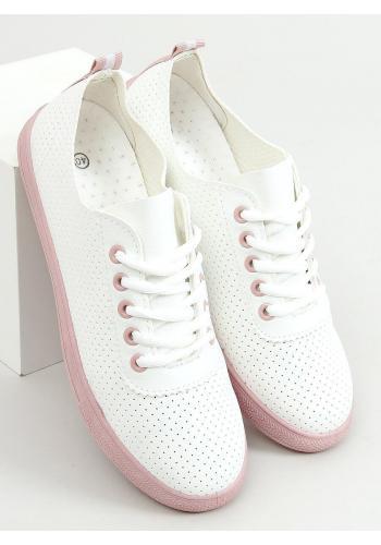 Dírkované dámské tenisky bílé barvy s růžovými prvky